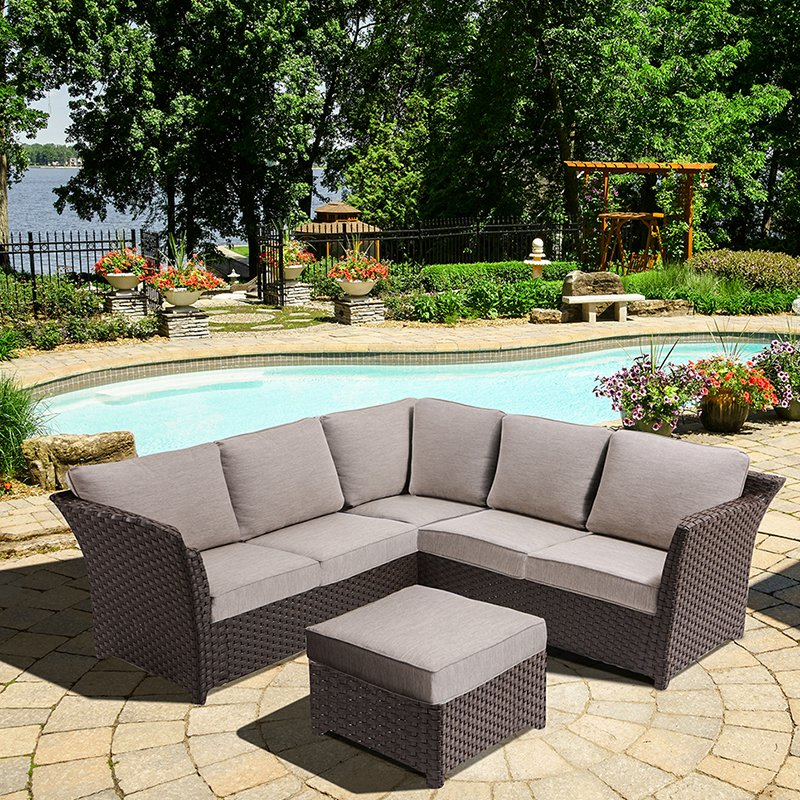 OVE Decors Clara Wicker 3 Piece Patio Sectional Conversation Set with Cushions