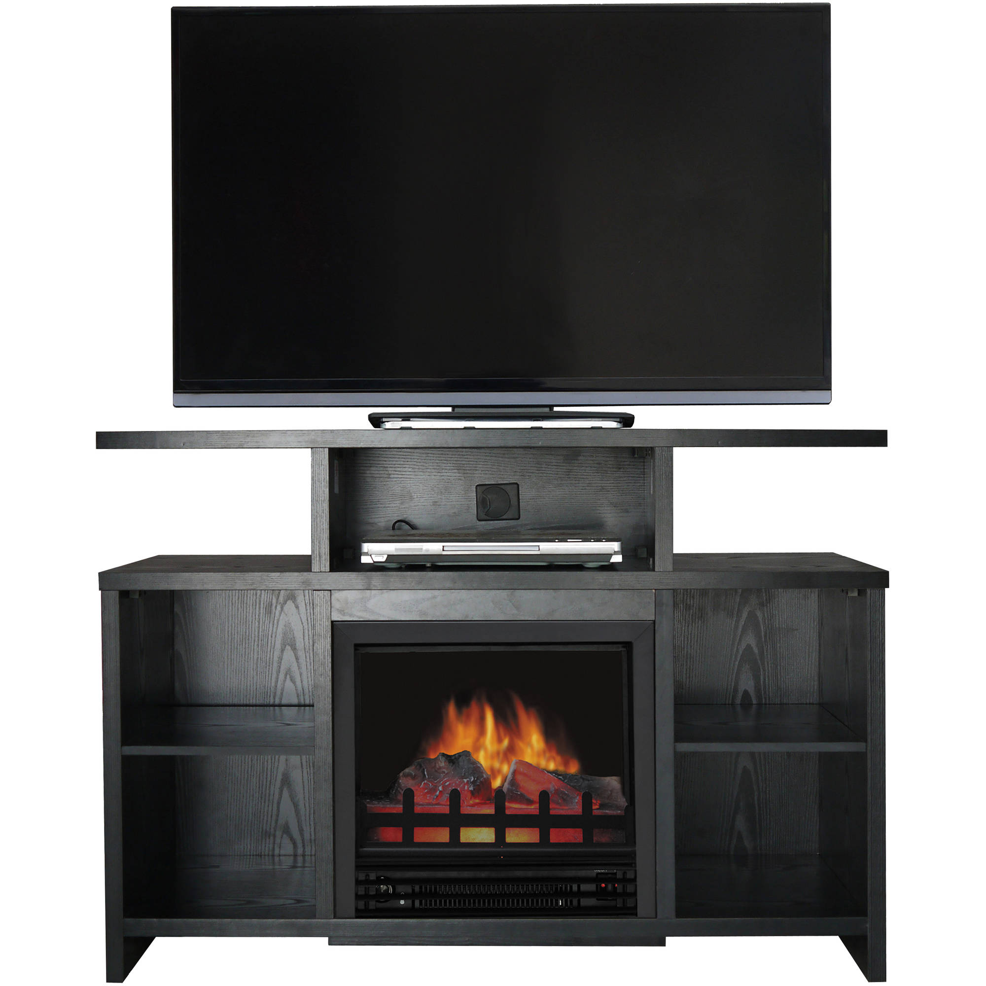 "Decor Flame Media Electric Fireplace for TVs up to 50"", Black"