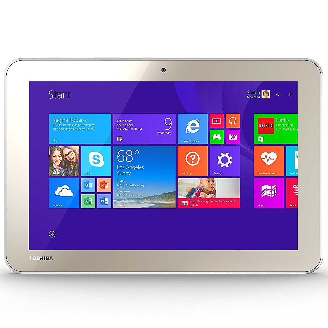 Toshiba Encore 2 10-Inch Touchscreen Wi-Fi Wireless Tablet with Intel Atom Quad-Core Processor (1.83GHz), 1GB RAM, 32GB Storage Memory & Windows, Matte Satin Gold, WT10A (New Open Box)