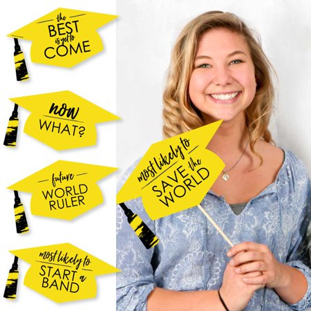 Hilarious Yellow Grad - Best is Yet to Come - Yellow Graduation Party Photo Booth Props Kit - 20 Count (Is Booth Dead)