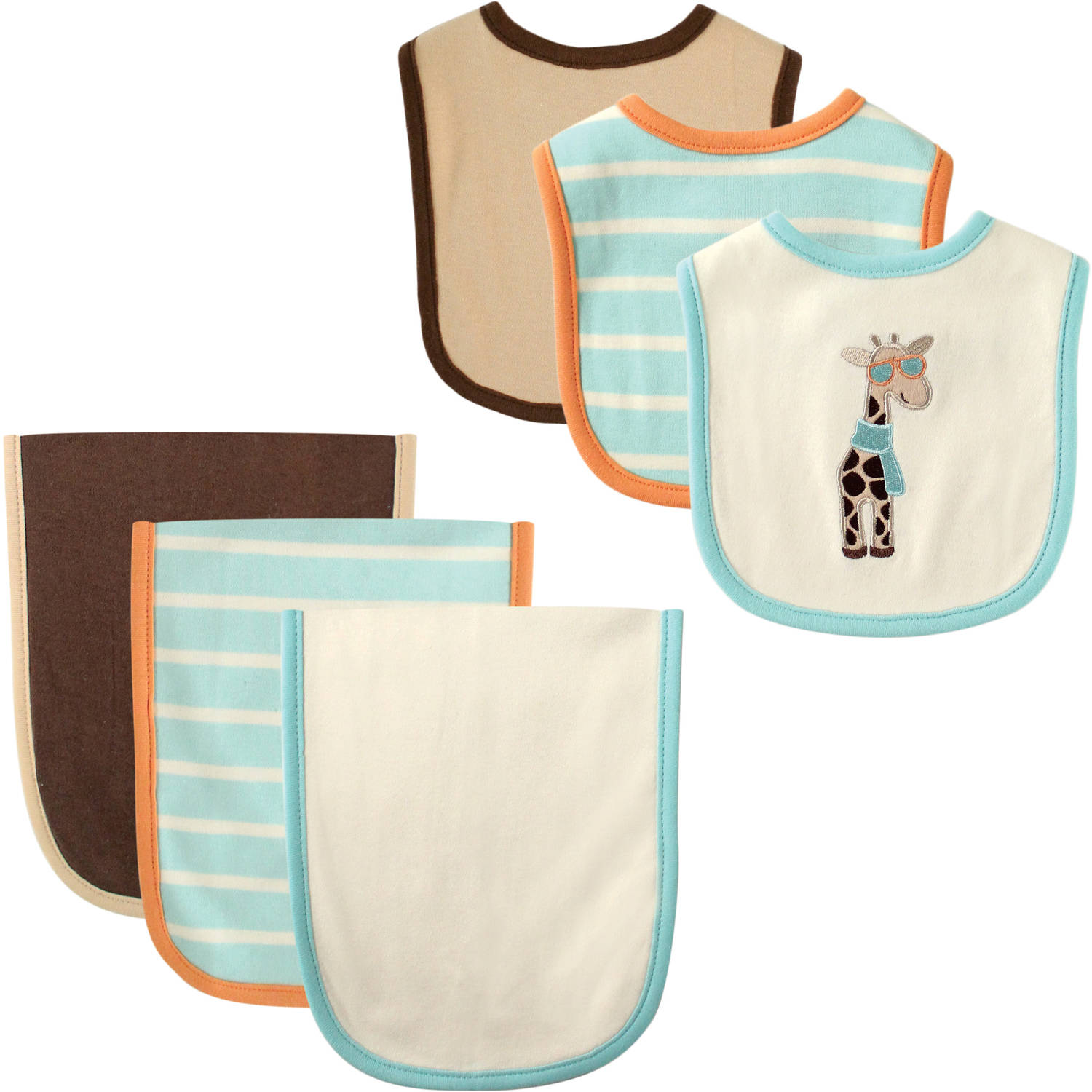 Hudson Baby Giraffe Bib and Burp Cloth, 6pk