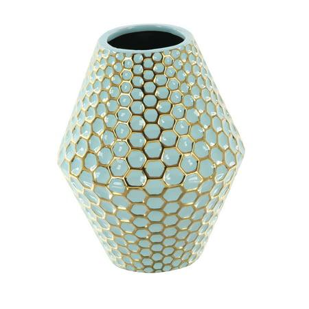 Decmode Modern 10 Inch Decorative Rhombus Ceramic Vase, Gold