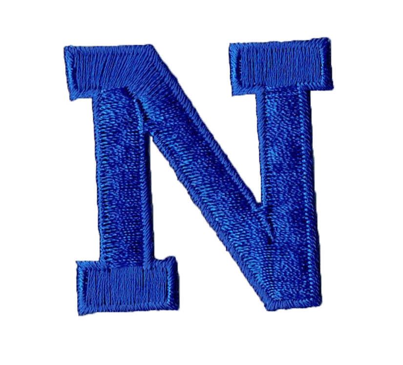 "Alphabet Letter - N - Color Royal Blue - 2"" Block Style - Iron On Embroidered Applique Patch"