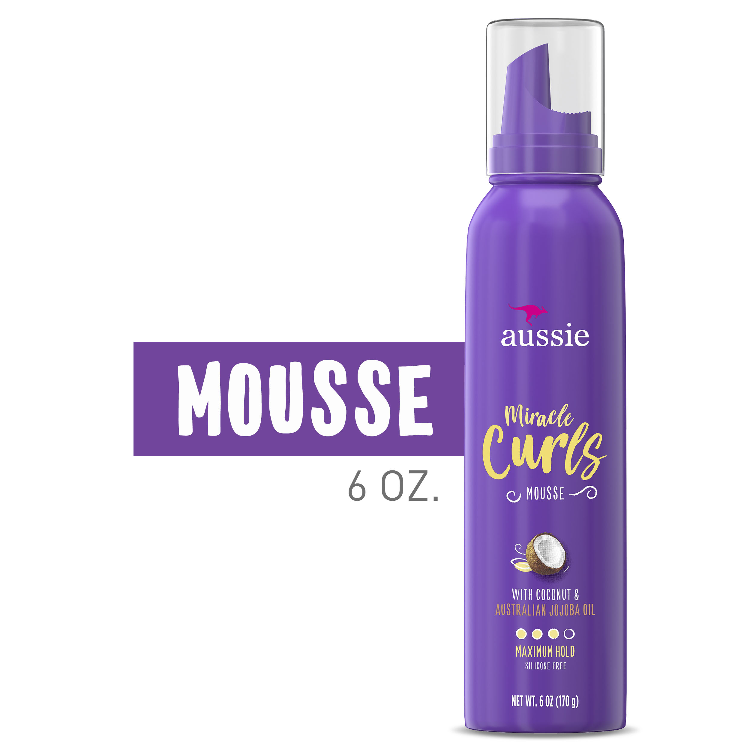 Aussie Miracle Curls Styling Mousse Max Hold Silicone Free 6 Fl Oz Walmart Com Walmart Com