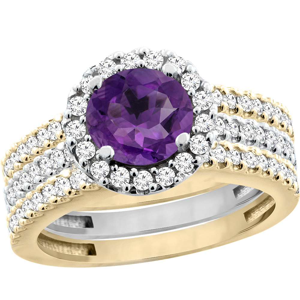 10K Gold Natural Amethyst 3-Piece Ring Set Two-tone Round 6mm Halo Diamond, size 5 by Gabriella Gold