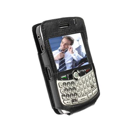 Krusell 89272 Cabriolet Black Leather Case with Clip for Blackberry Curve 8300