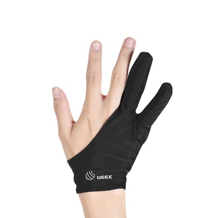 Hands Free Sling - UGEE Free Size Two-Finger Drawing Glove Anti-fouling Black Suitable for Right & Left Hand for Artist Tablet Drawing