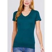 Womens Juniors Basic Short Sleeve Tee - Stretchy V-Neck T-Shirt - Dark Teal Short Sleeve Top VNECK