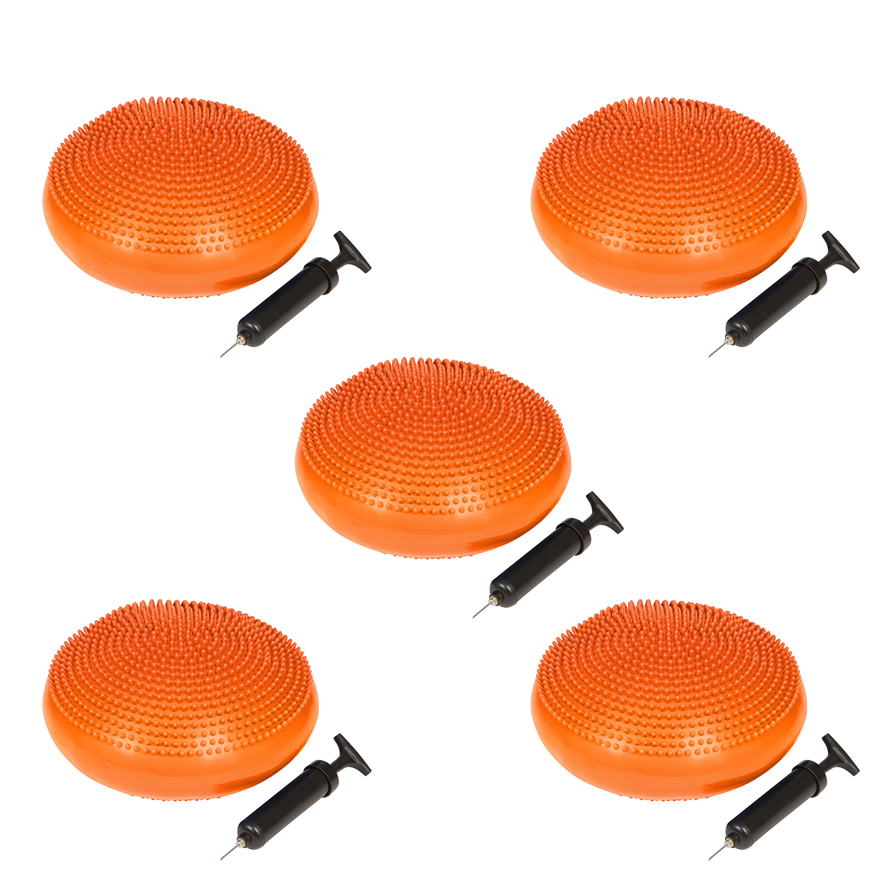 PVC Fitness and Balance Disc - 13-Inch Diameter - Set of 5 - By Trademark Innovations (Orange)
