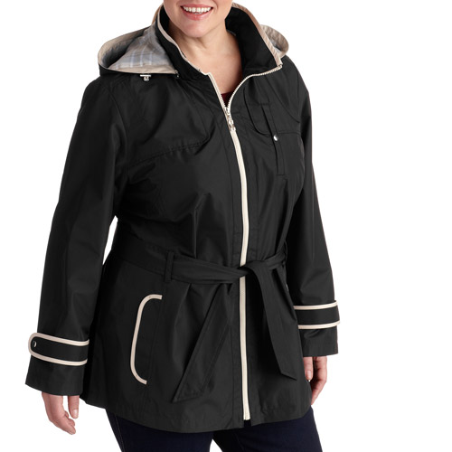 Weather Tamer Women's Plus-Size Belted Trench with Hood