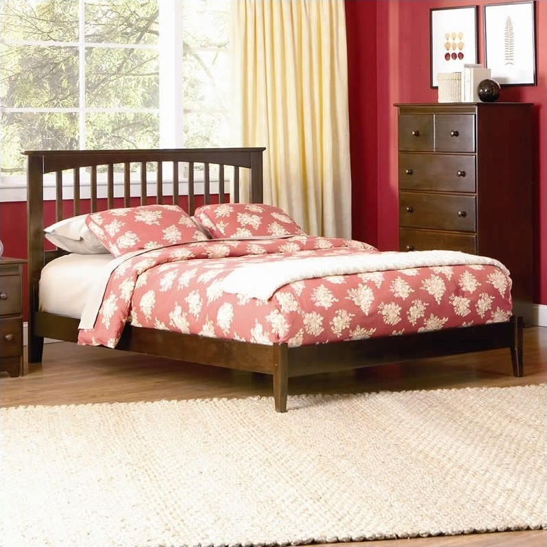 Atlantic Furniture Brooklyn Platform Bed with Open Footrail in Antique Walnut-Full