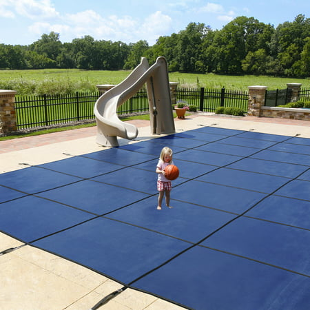 Blue Wave 18-Year Mesh In-Ground Pool Safety Cover w/ 4-ft x 8-ft Center Step - Blue (Step Safety Pool Cover)