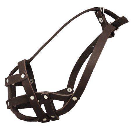 Genuine Leather Secure Dog Mesh Basket Muzzle #134 Brown (Circumference 12', Snout Length 1.5') French Bulldog,