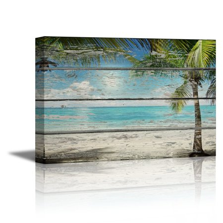 wall26 Canvas Prints Wall Art - Tropical Beach with Palm Tree on Vintage Wood Background Rustic Home Decoration - 12
