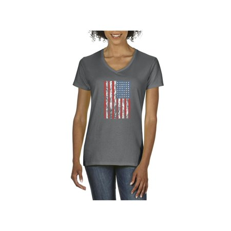 4th of July Flags American Flag Vintage Women V-Neck T-Shirt Day Womens V-neck T-shirt