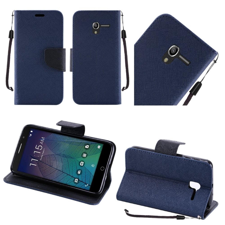 Insten Book-Style Leather Fabric Case Lanyard w/stand For Alcatel Stellar / Tru - Blue/Black