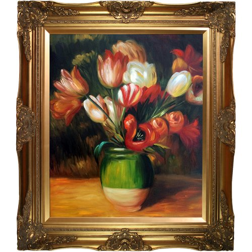 Wildon Home 'Tulips in a Vase' Canvas Art by Pierre Auguste Renoir Traditional in Tuscan Crackle Frame