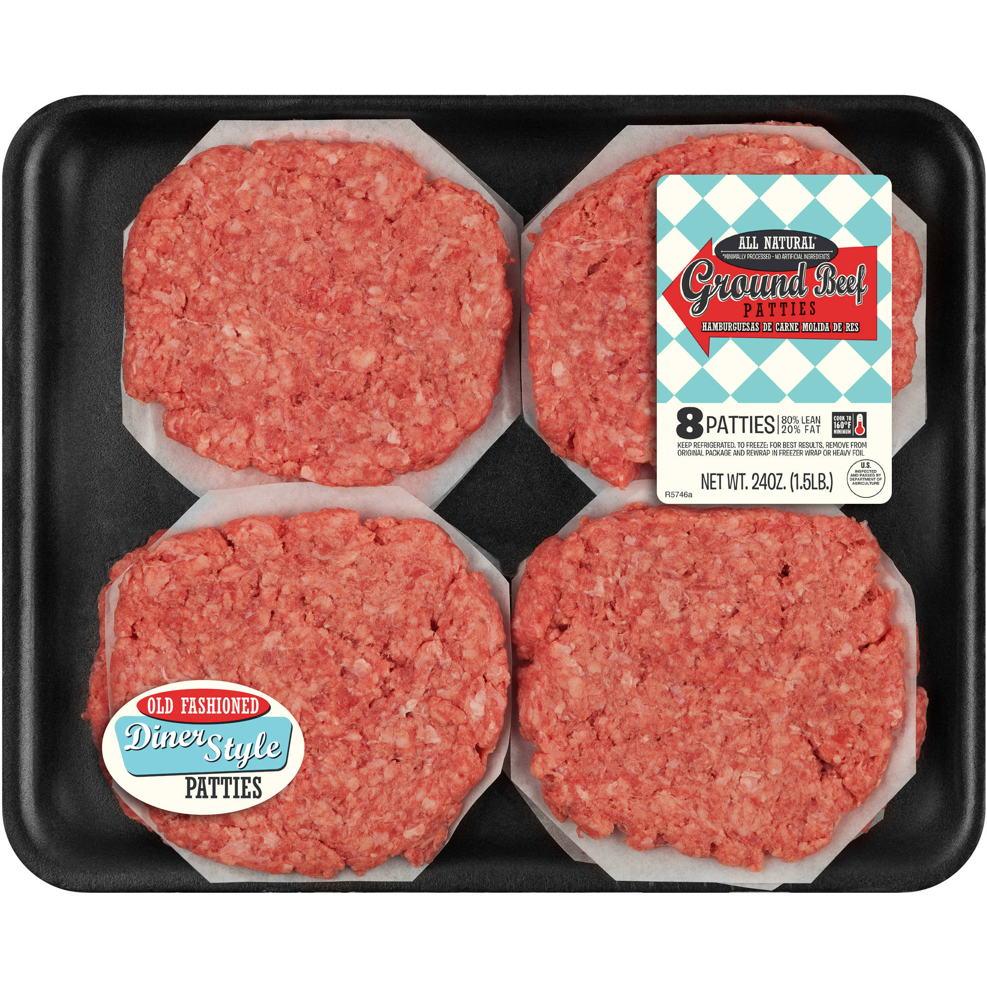 80% Lean 20% Fat Ground Beef 8ct Patties, 1.5 lbs