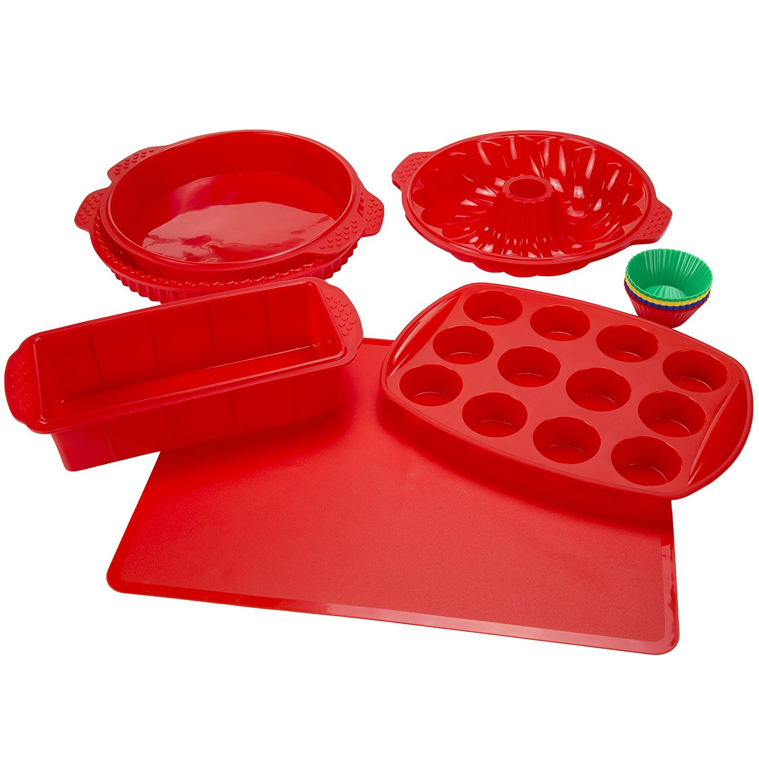 18 Piece Silicone Bakeware Set, Red..., By Classic Cuisine Ship from US by