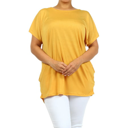 - PLUS Women's  short  sleeves, ruched on sides of hem solid  tunic top.