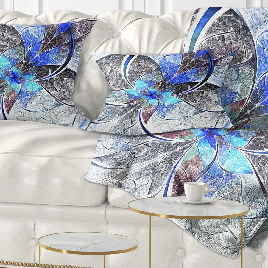 Designart CU7250-26-26 Symmetrical Blue Fractal Flower Abstract Cushion Cover for Living Room in Sofa Throw Pillow 26 in Insert Printed On Both Side x 26 in
