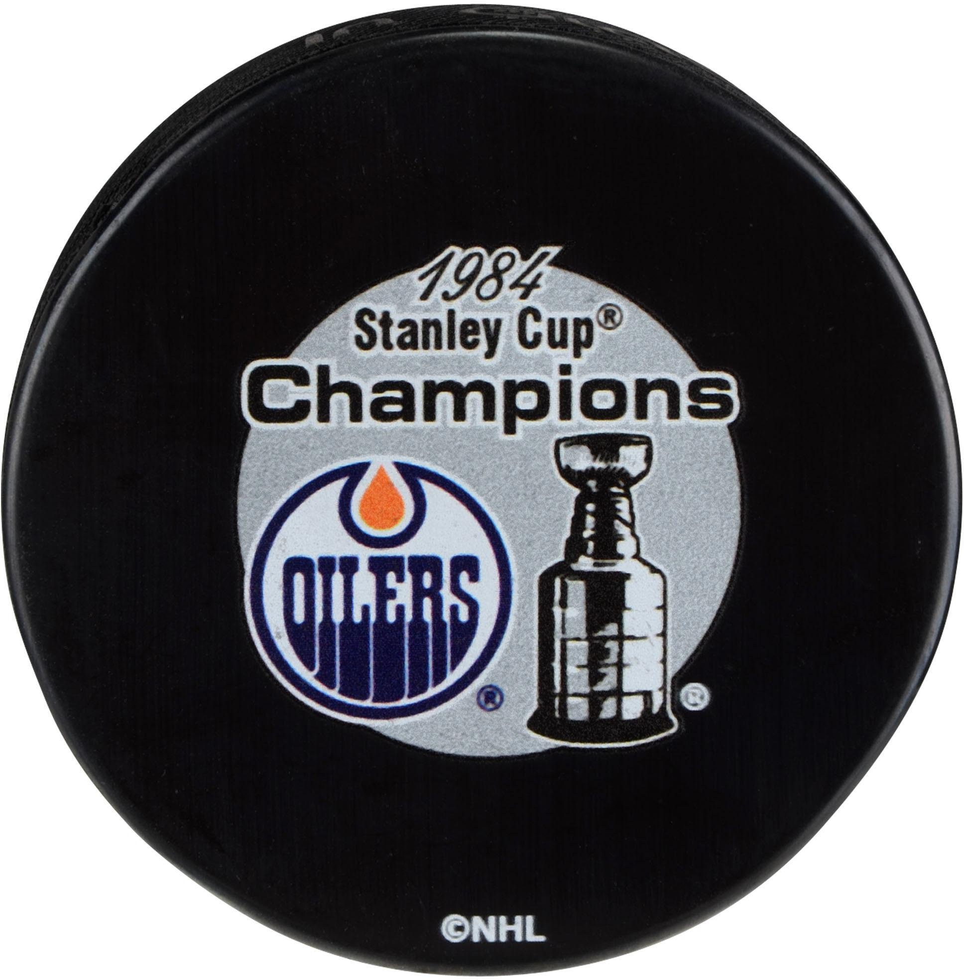 Edmonton Oilers Unsigned 1984 Stanley Cup Champions Logo Hockey Puck