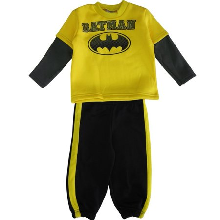 DC Comics Little Boys Yellow Black Batman Logo Sweater 2 Pc Pant Set - Batman Sweater