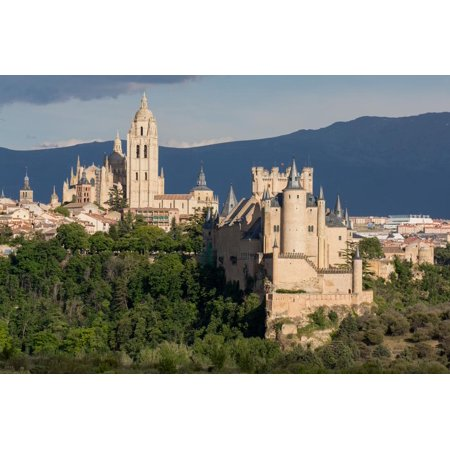 The Imposing Gothic Cathedral and the Alcazar of Segovia, Castilla Y Leon, Spain, Europe Print Wall Art By Martin Child