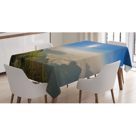 Landscape Tablecloth  Mother Nature Inspired Cliff Mountain Wiev From The Peak Sunbeams Clouds Photo  Rectangular Table Cover For Dining Room Kitchen  60 X 90 Inches  Multicolor  By Ambesonne