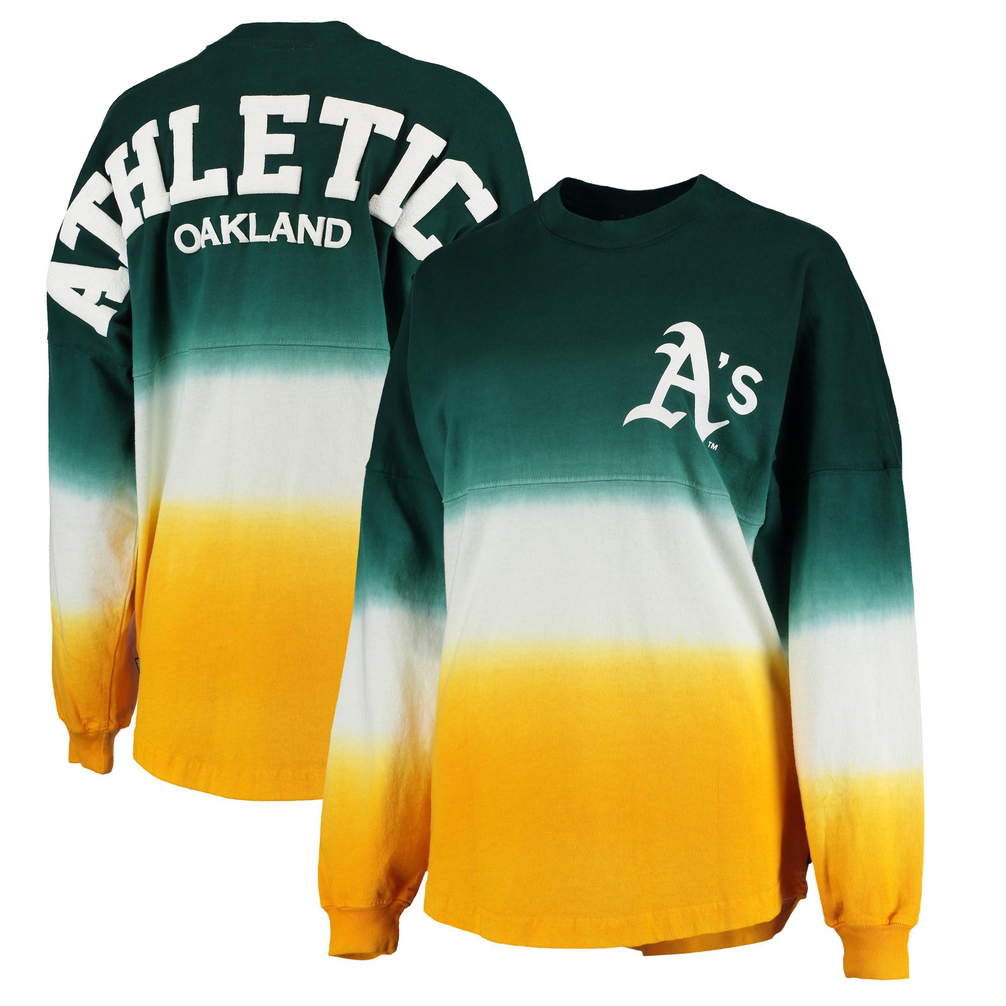 Oakland Athletics Women's Oversized Long Sleeve Ombre Spirit Jersey T-Shirt - Green