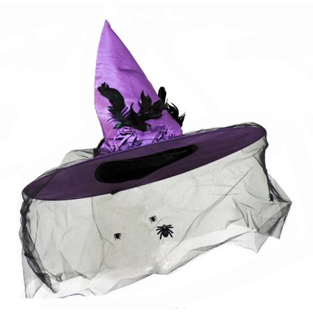 Deep Purple Witch Hat With Spiders On Veil And Rose - Top Hat With Veil