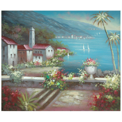 Oriental Furniture Hand Painted 'Steeple by the Riviera' Original Painting on Wrapped Canvas