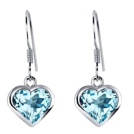 Sterling Silver Sky Blue Topaz Anniversary Dangle Earrings For Women by Orchid Jewelry + Free Jewelry (Blue Topaz Topaz Jewelry Box)