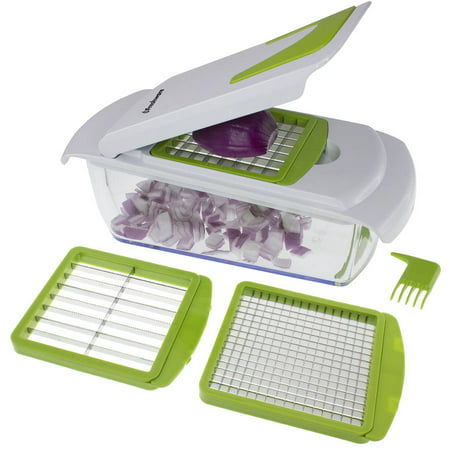 Freshware 4-in-1 Onion, Vegetable, Fruit and Cheese Chopper with Storage Lid, (Best Manual Vegetable Chopper)