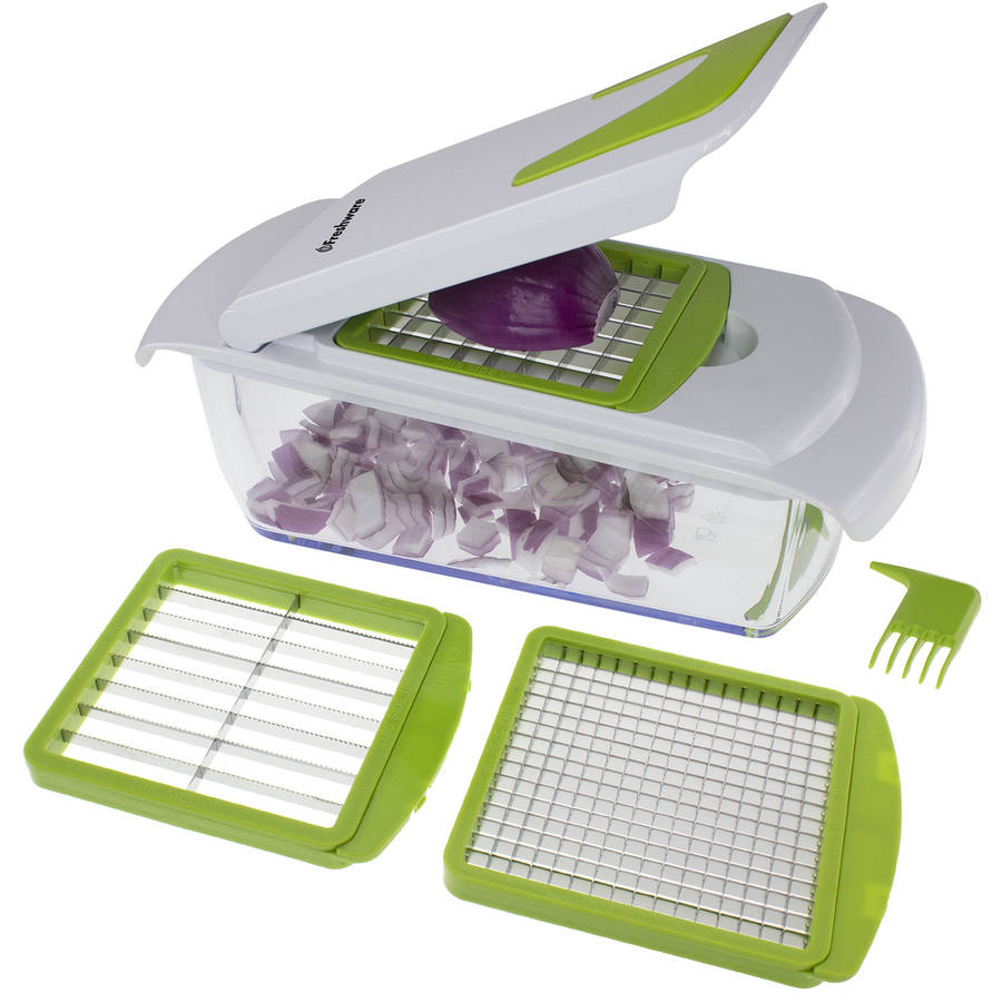 Freshware 4-in-1 Onion, Vegetable, Fruit and Cheese Chopper with Storage Lid, KT-405