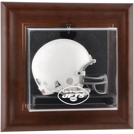 New York Jets Brown Framed Wall-Mountable Mini Helmet Display Case