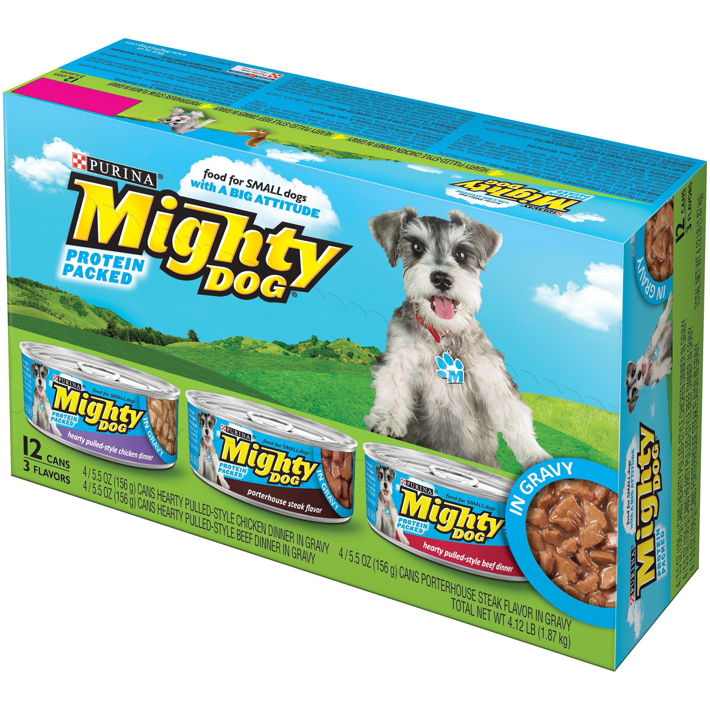 Purina Mighty Dog Hearty Pulled-Style in Gravy Variety Pack Wet Dog Food, 5.5 Oz, Case of 12