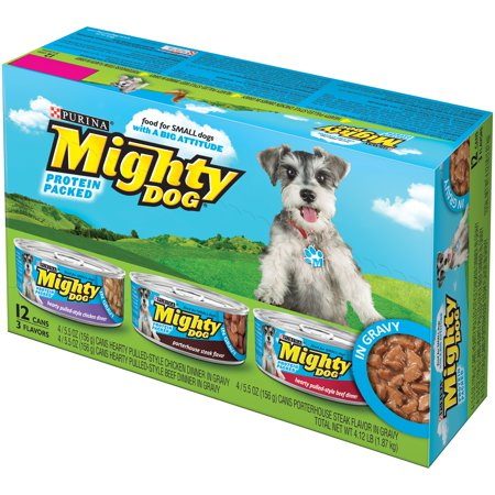 (Purina Mighty Dog Hearty Pulled-Style in Gravy Variety Pack Wet Dog Food, 5.5 Oz, Case of 12)
