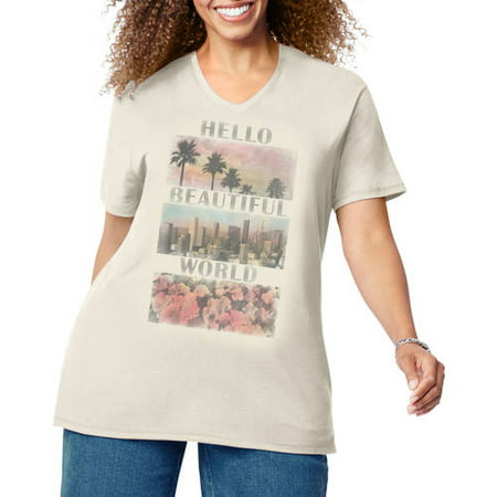 f827207ec35 Just My Size - by Hanes Women s Plus Size Printed Short Sleeve V-neck T  Shirt - Walmart.com