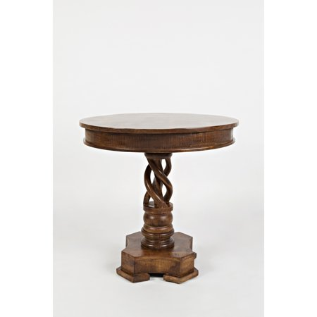 Hand Carved Round Table With Curved Pedestal Feet,