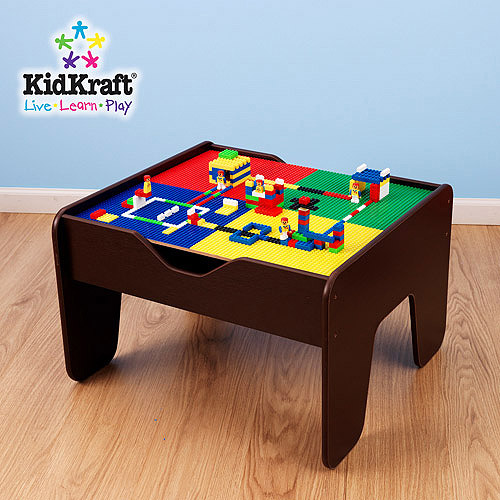 KidKraft Espresso 2-in-1 Activity and Train Table with Lego Board, 30-Piece Set