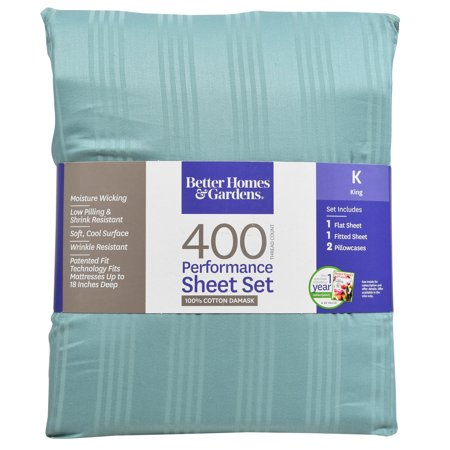 Better Homes & Gardens 400 Thread Count Damask Performance Aqua Bedding Sheet Collection