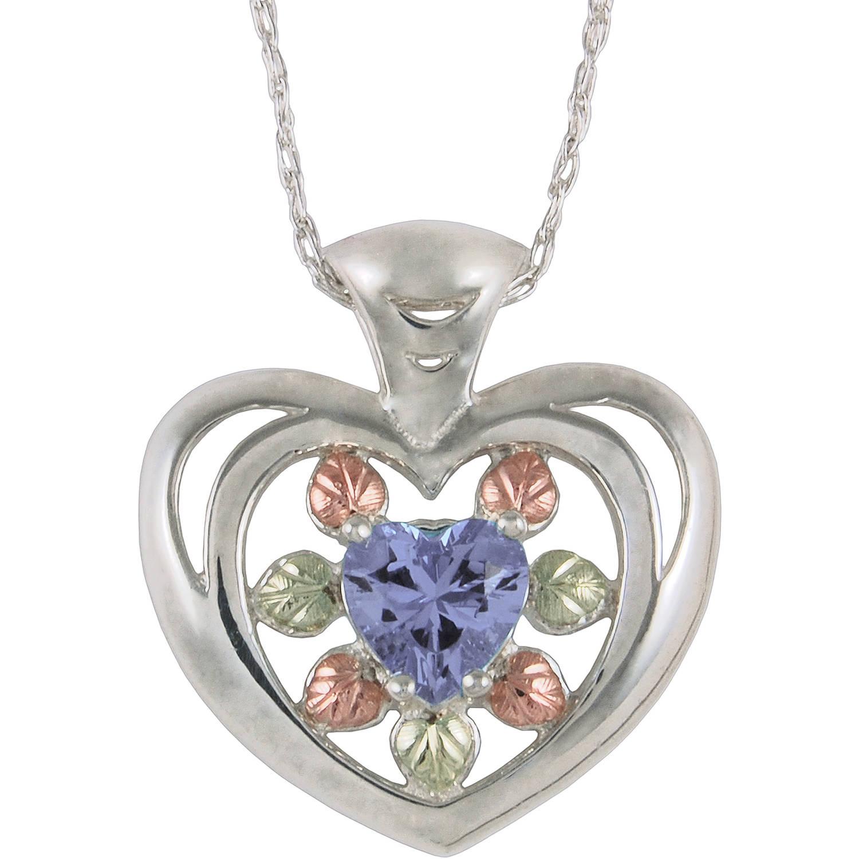 """Black Hills Gold Helenite Sterling Silver 12kt Gold Leaf Accented Indigo Heart Pendant, 18"""""""