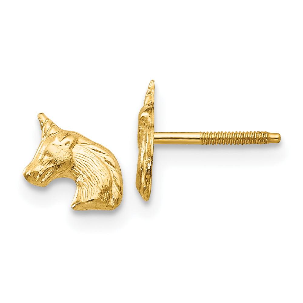 14K White Gold Madi K Horse Screwback Earrings