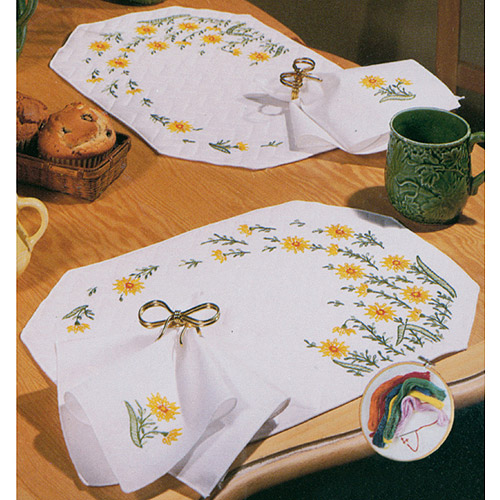Tobin Wind Swept Stamped Placemats & Napkins For Embroidery