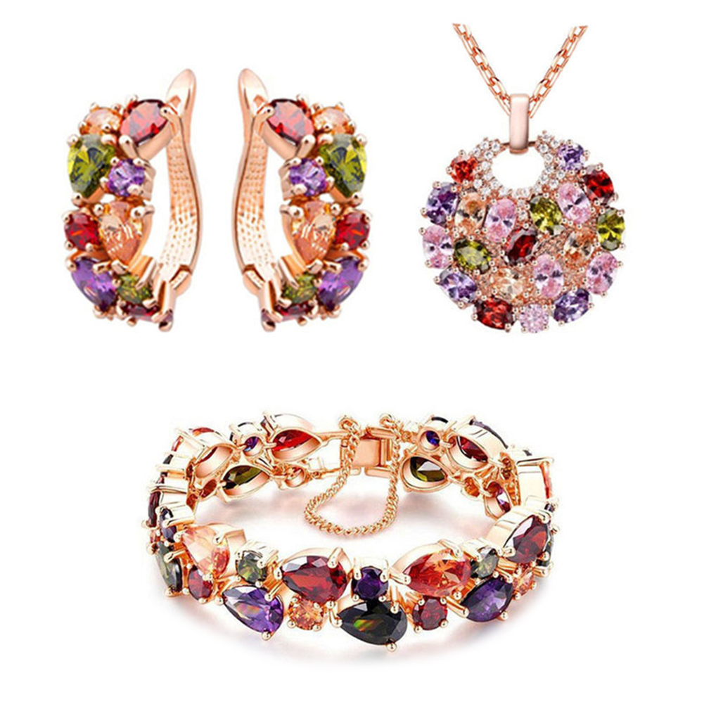 3Pcs/Set Women Wedding Bride Fashion Colorful Zircon Jewelry Set Artificial Gems Necklace Earrings Bracelet