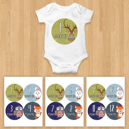 7c1a5e5dc Monthly Baby Stickers Boy Woodland Tribal Shower Gift Fox Bear Deer ...
