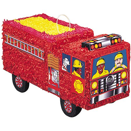 Fire Engine Party (Fire Engine Pinata, 20.5 x 13 in, Red,)