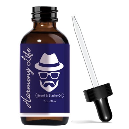 Harmony Life Beard Oil Mustache Healthy Growth Soften Hair & Ease Out Knots  2oz  Father's Day