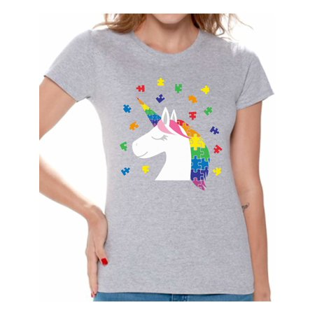 Autism Merchandise (Awkward Styles Cute Unicorn Autism Shirt for Women Autism Awareness Shirt Awareness Shirt Puzzle Autism Women Shirt Autism Mom Shirt Autism Grandma Shirt Autism Awareness Gifts Autism Gifts for)